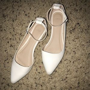 ASOS white ankle strap pointed toe flats